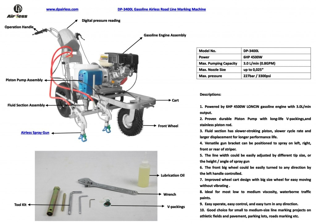 DP-3400L estrada gasolina máquina de marcação