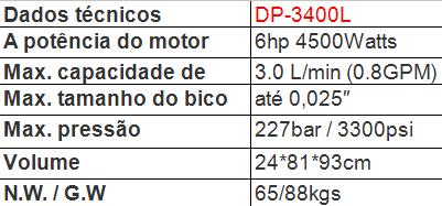 dp3400L dados técnicos