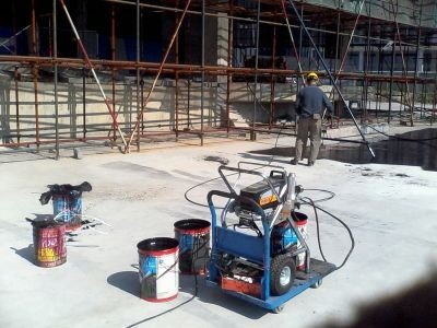 waterproofing spraying by dp airless sprayer