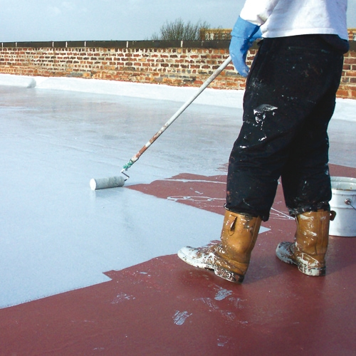 A typical liquid roofing installation