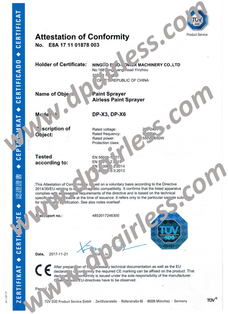 TUV CE Certificate(EMC) for DP-X3 DP-X6 Airless Paint Sprayer