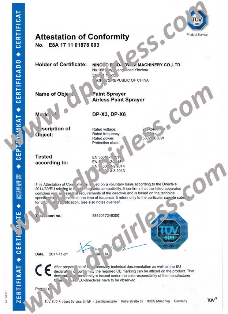 TUV CE Certificate(EMC) for DP-X3 DP-X6 Paint Sprayer Machine