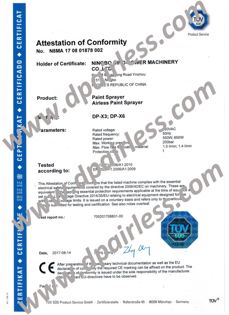 TUV CE-certifikat (LVD) for DP-X3 DP-X6 Airless Sprayer