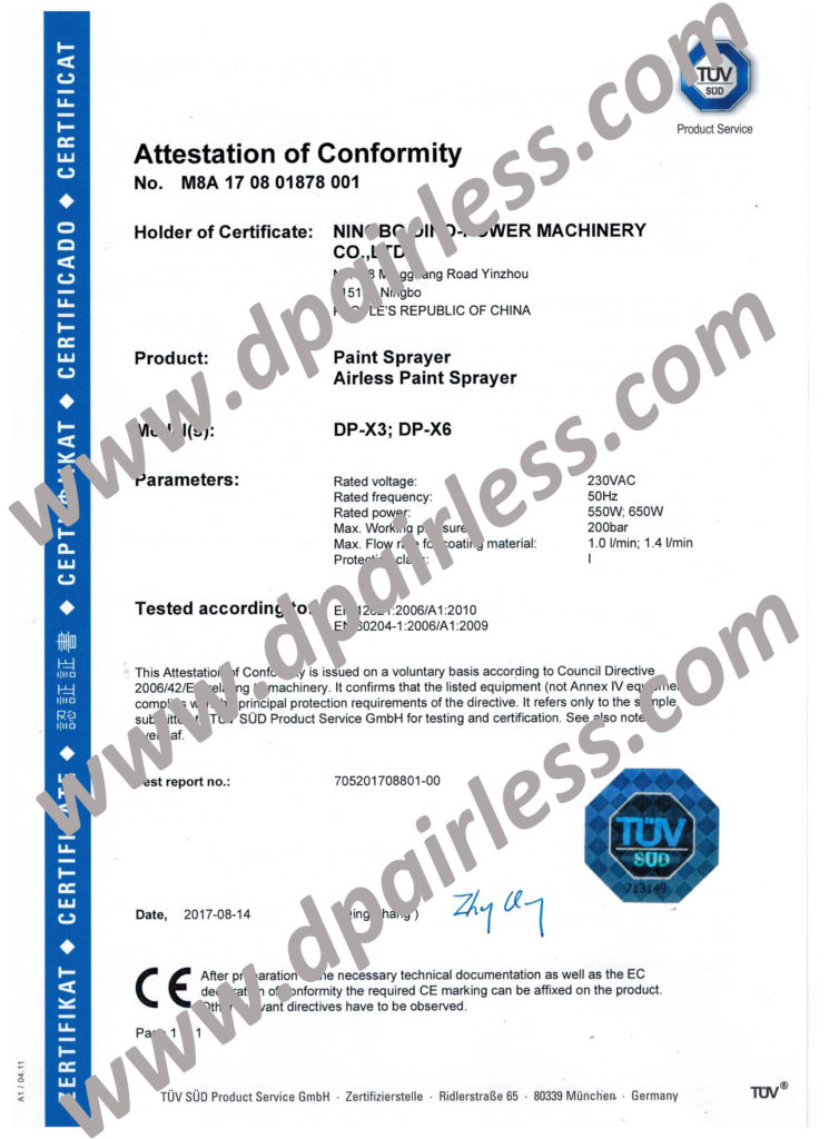 TUV CE Certificate(MD) for DP-X3 DP-X6 Airless Paint Sprayer