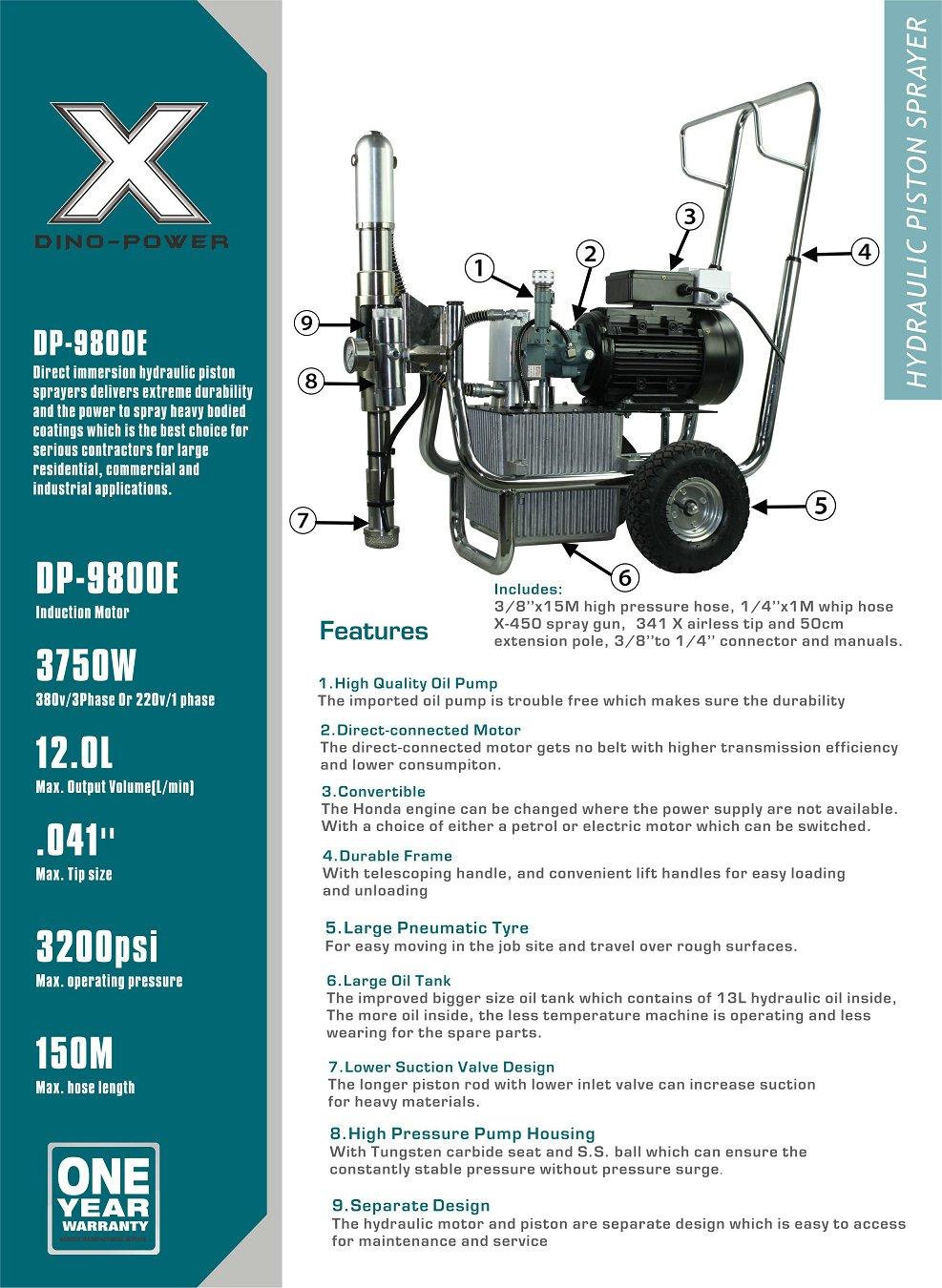DP-9800E AIRLESS hydraulic paint sprayer