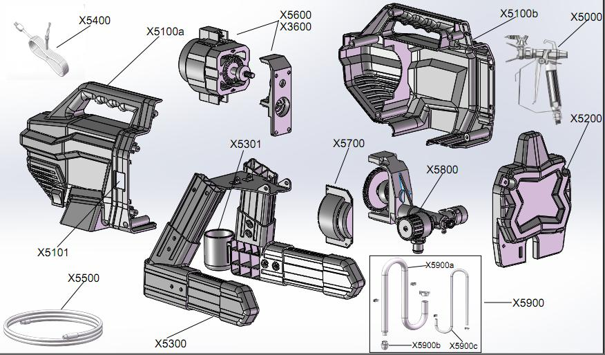exploded drawing for airless sprayer