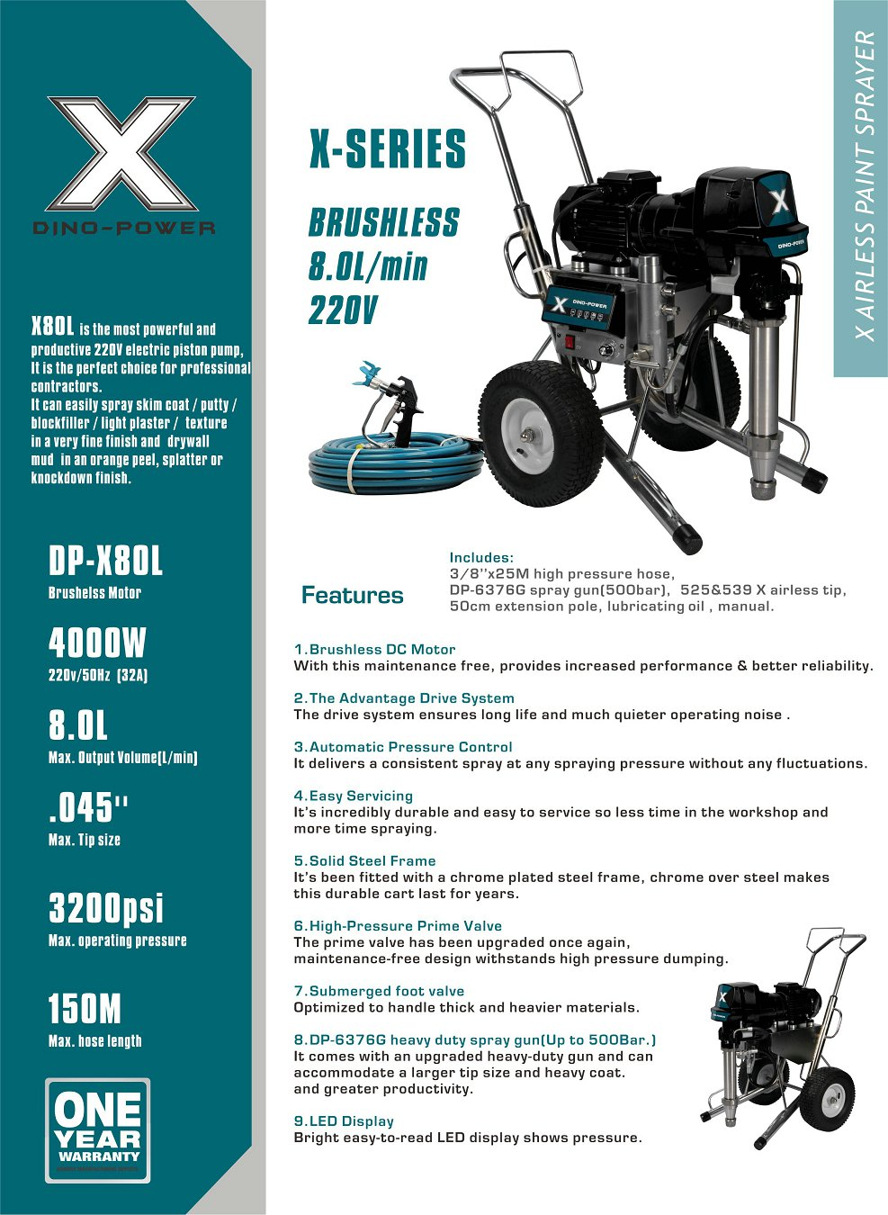 X80L 220 Volt, The largest electric airless/texture sprayer