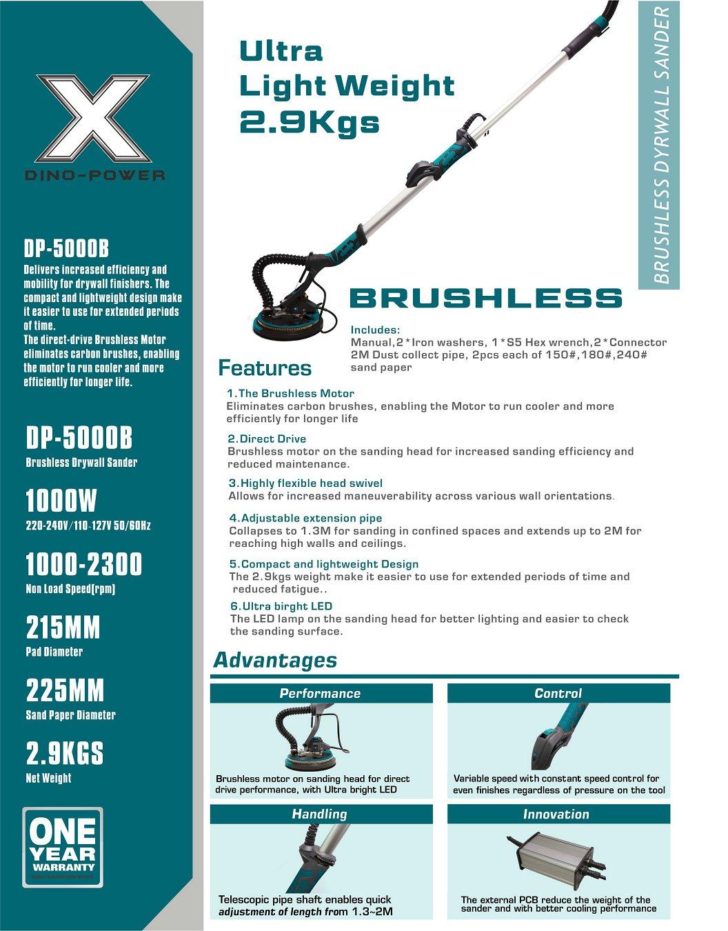 DP-5000B brushless drywall sander