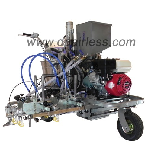 DP-LC880TD Two components Four guns Hydraulic Airless Line Striper with Reflective Bead Dispensing System
