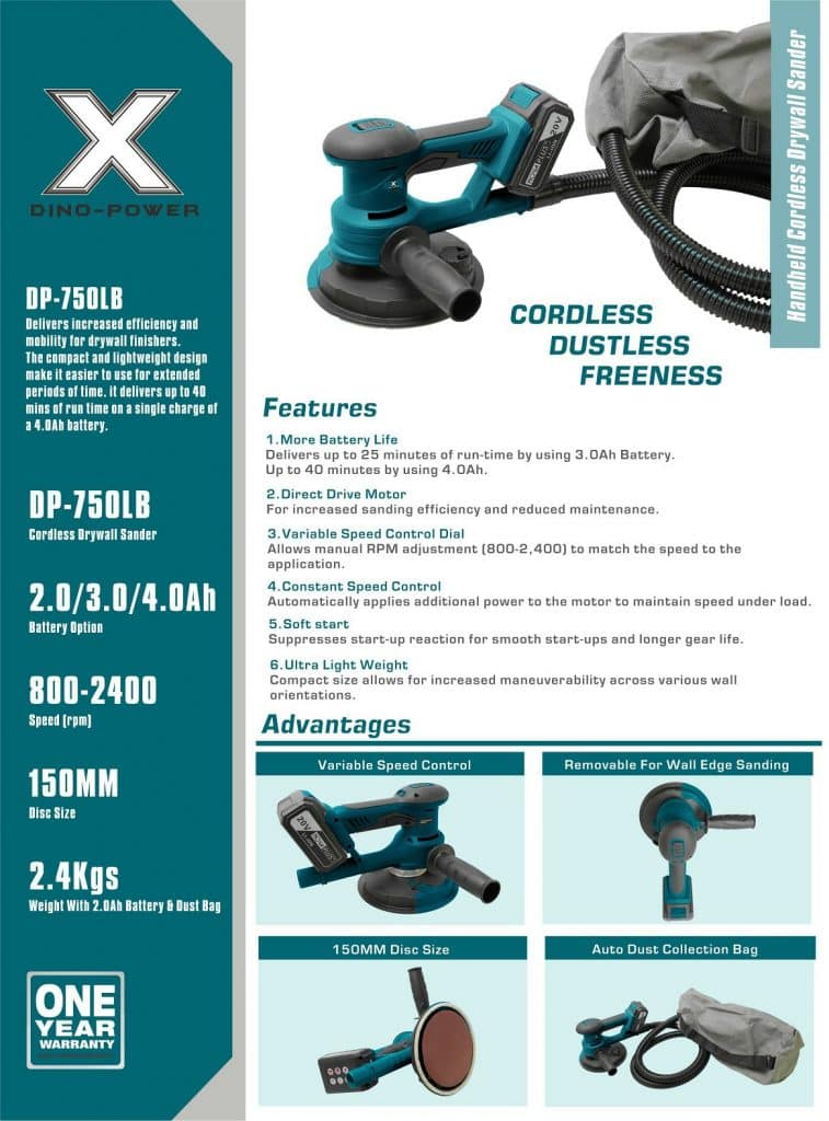DP-750LB CORDLESS HANDHELD DRYWALL SANDER- BROCHURE